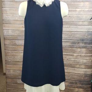 NANETTE LEPORE lace peak collar shift dress size 4